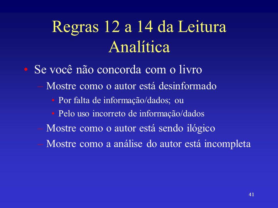 Regras 12 a 14 da Leitura Analítica