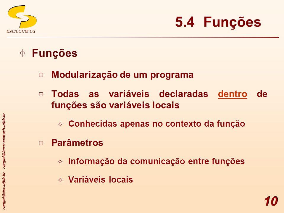 5.4 Funções Funções Modularização de um programa