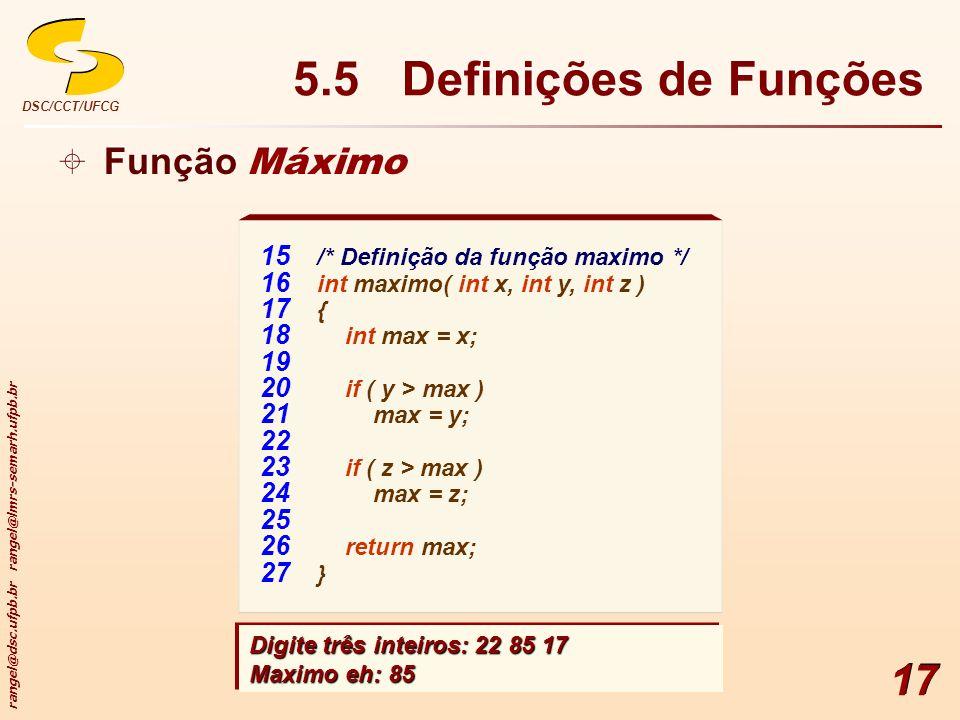 5.5 Definições de Funções Função Máximo
