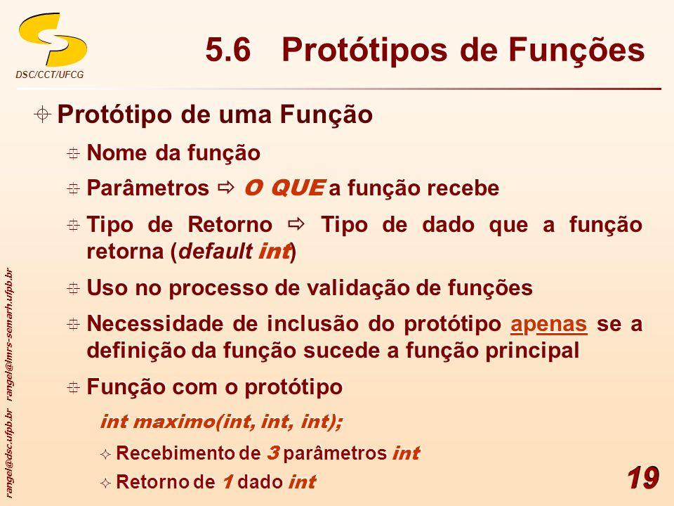5.6 Protótipos de Funções Protótipo de uma Função Nome da função