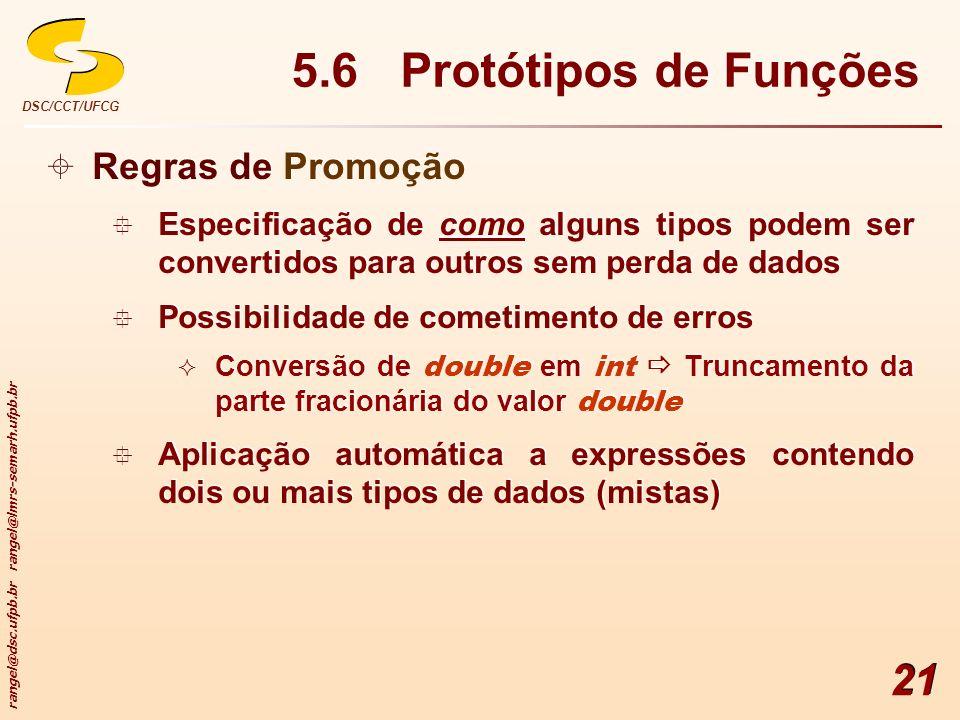 5.6 Protótipos de Funções Regras de Promoção