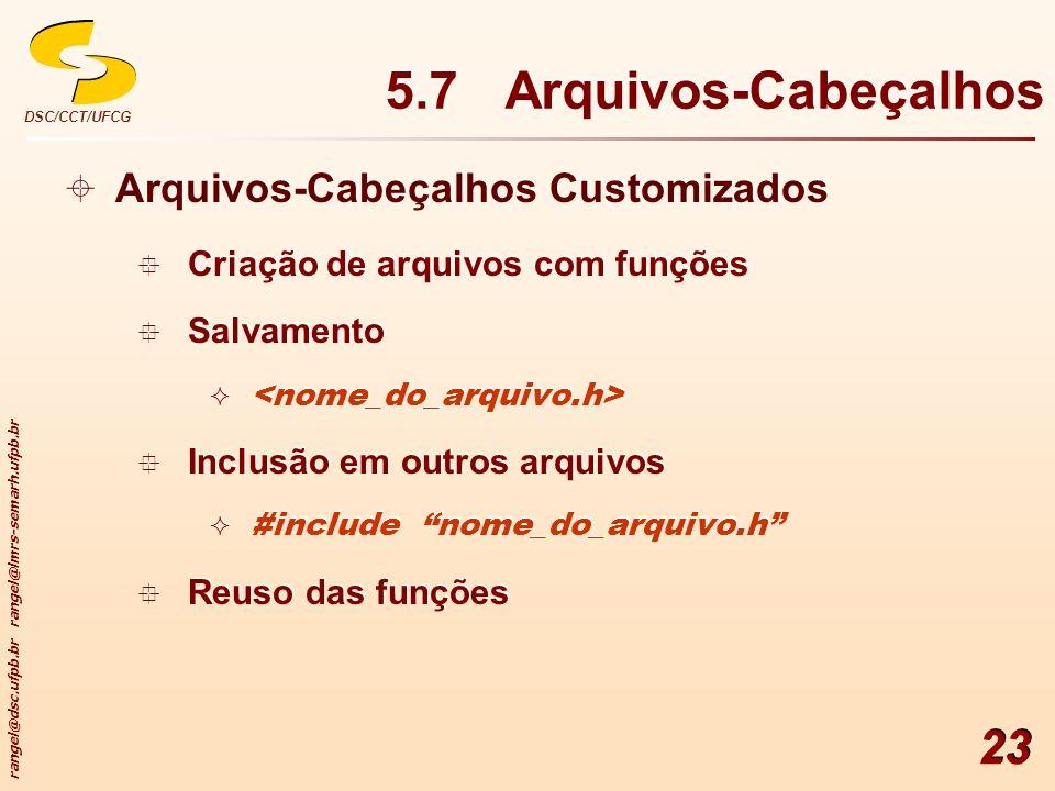 5.7 Arquivos-Cabeçalhos Arquivos-Cabeçalhos Customizados