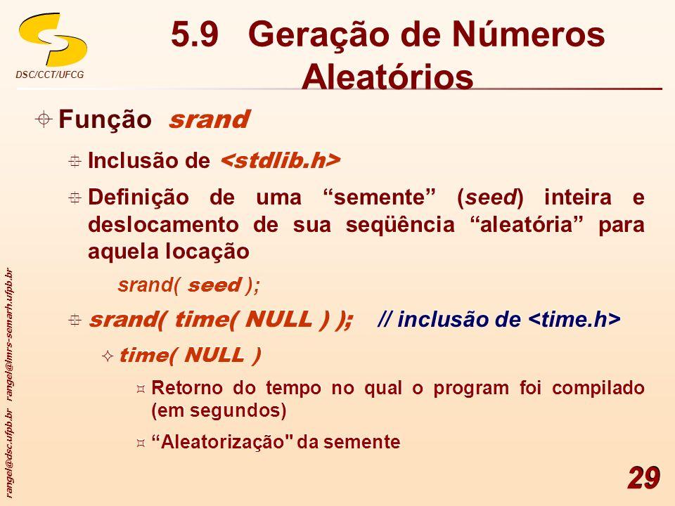 5.9 Geração de Números Aleatórios