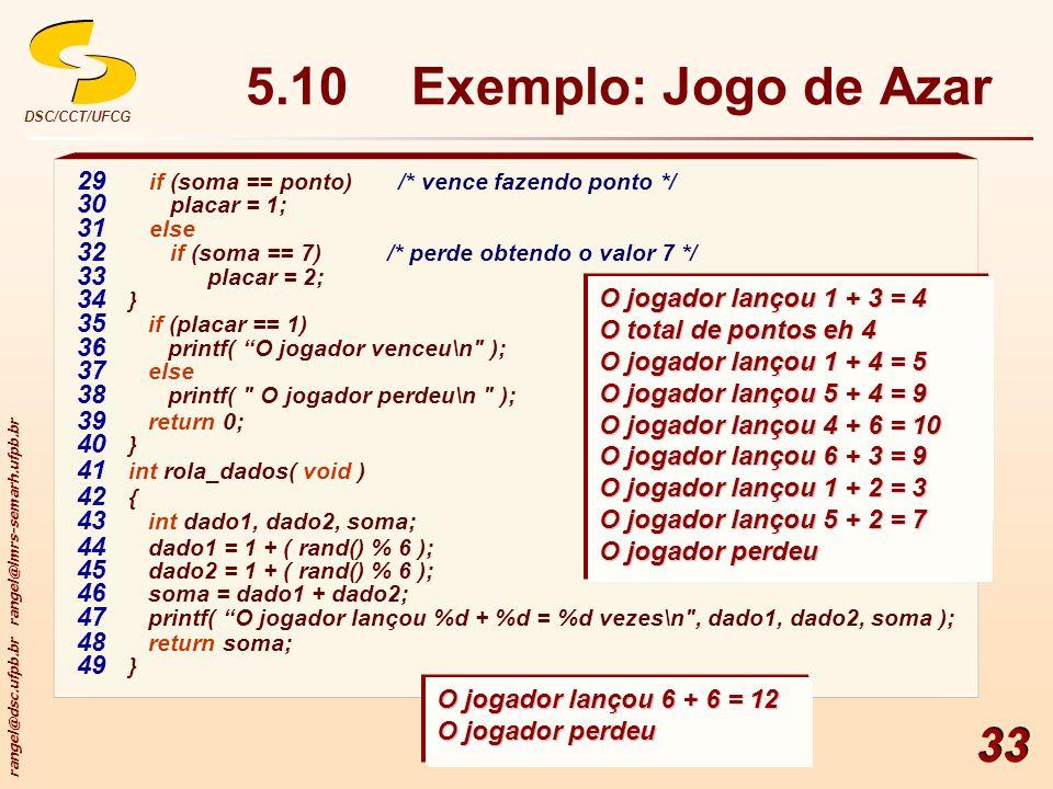 5.10 Exemplo: Jogo de Azar 29 if (soma == ponto) /* vence fazendo ponto */ 30 placar = 1; 31 else.