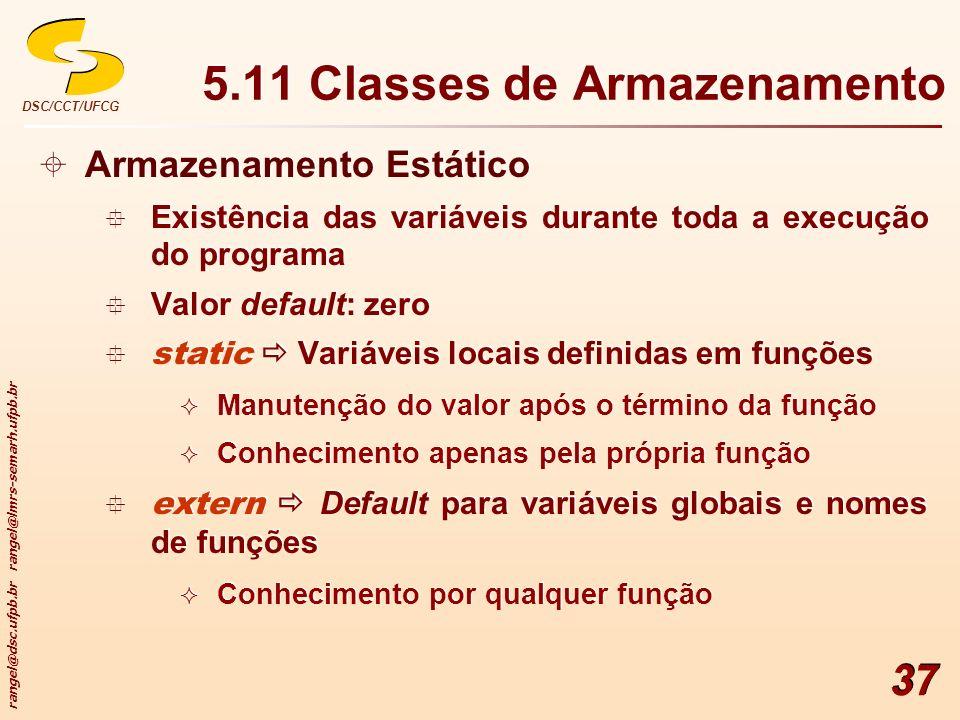 5.11 Classes de Armazenamento