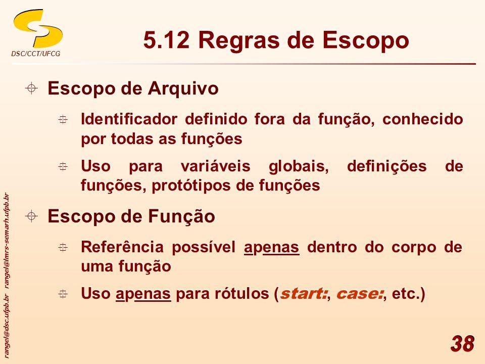 5.12 Regras de Escopo Escopo de Arquivo Escopo de Função