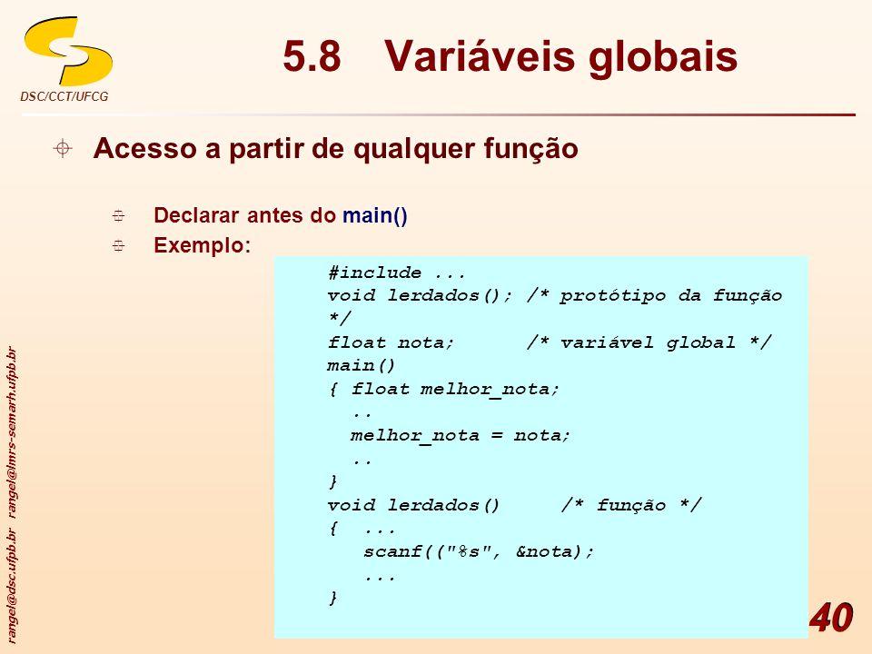 5.8 Variáveis globais Acesso a partir de qualquer função