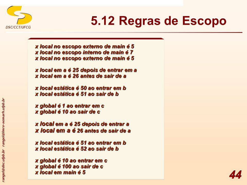5.12 Regras de Escopo x local no escopo externo de main é 5