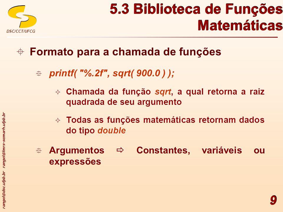 5.3 Biblioteca de Funções Matemáticas