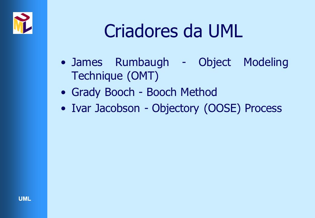 Criadores da UML James Rumbaugh - Object Modeling Technique (OMT)