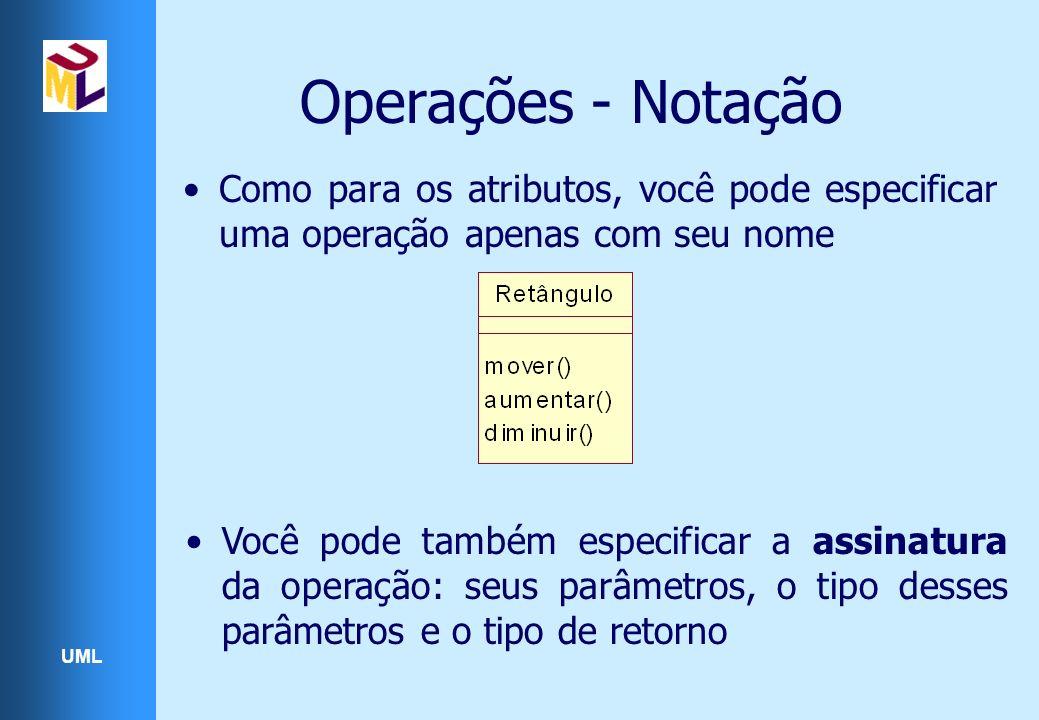 Operações - Notação Como para os atributos, você pode especificar uma operação apenas com seu nome.