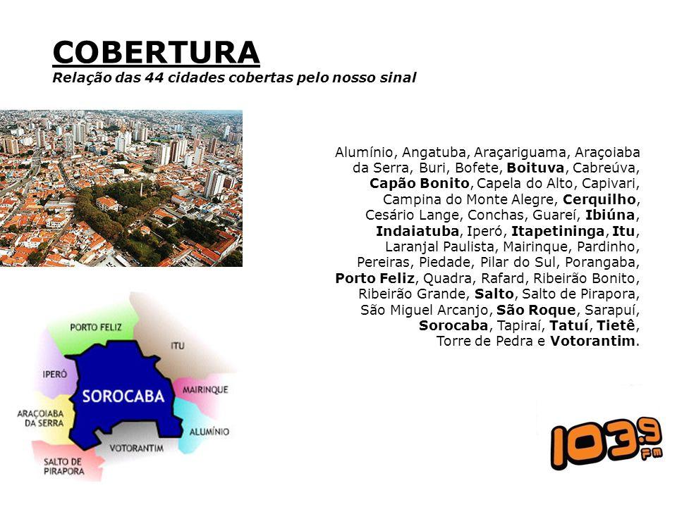 COBERTURA Relação das 44 cidades cobertas pelo nosso sinal