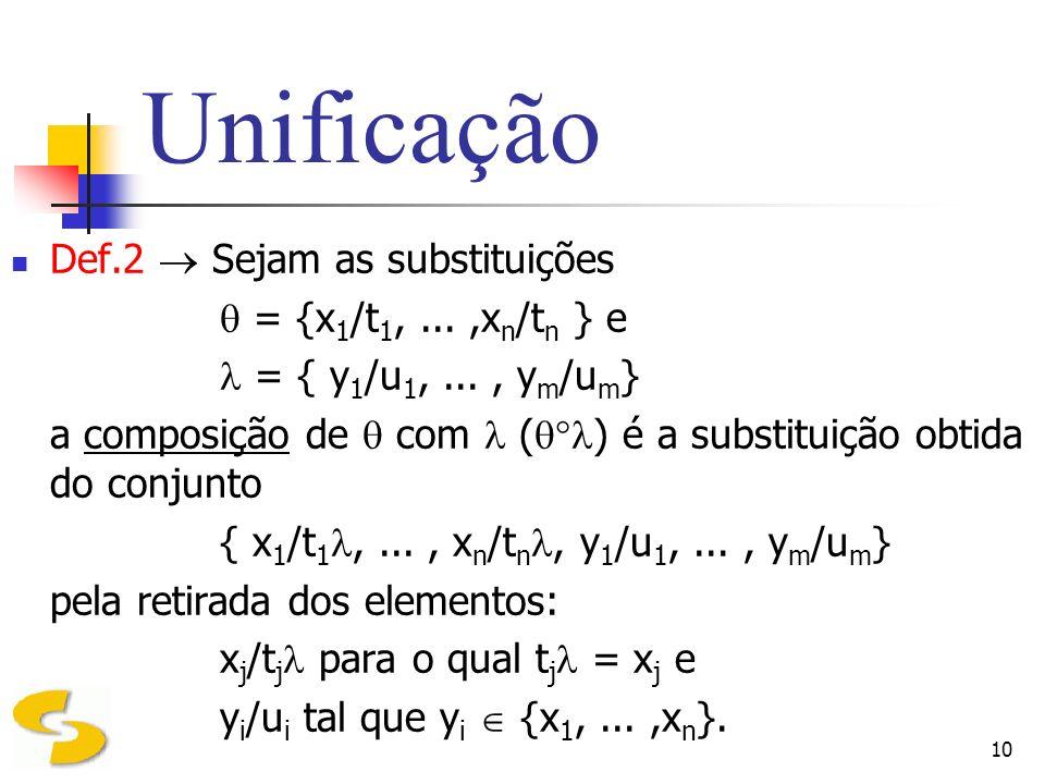 Unificação Def.2  Sejam as substituições  = {x1/t1, ... ,xn/tn } e