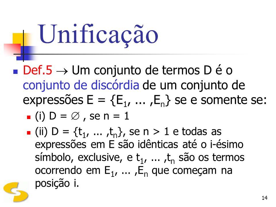 UnificaçãoDef.5  Um conjunto de termos D é o conjunto de discórdia de um conjunto de expressões E = {E1, ... ,En} se e somente se: