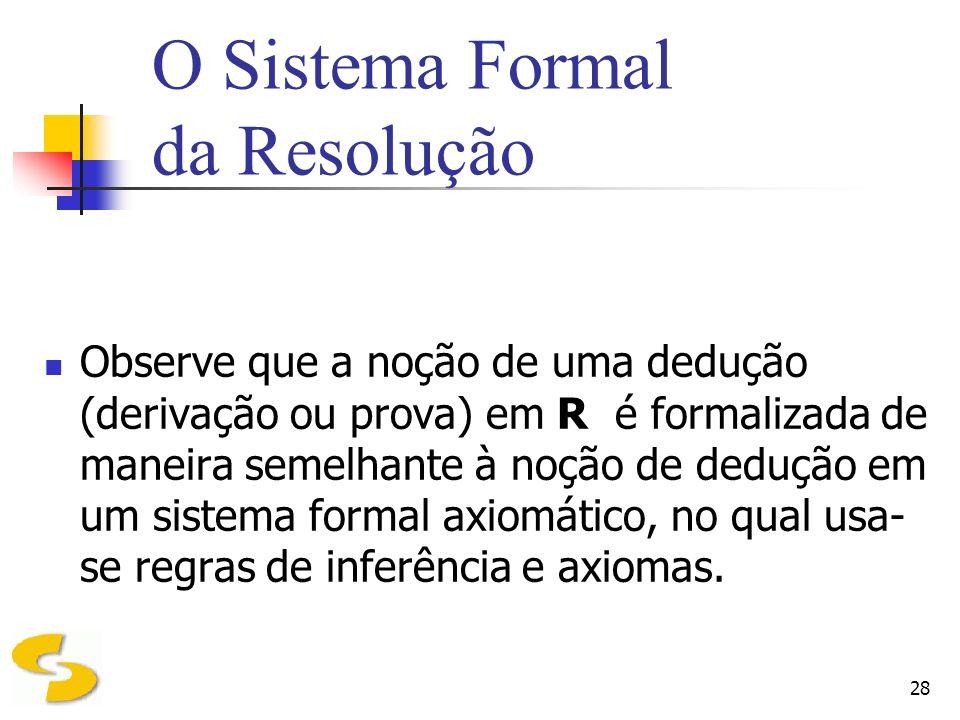 O Sistema Formal da Resolução