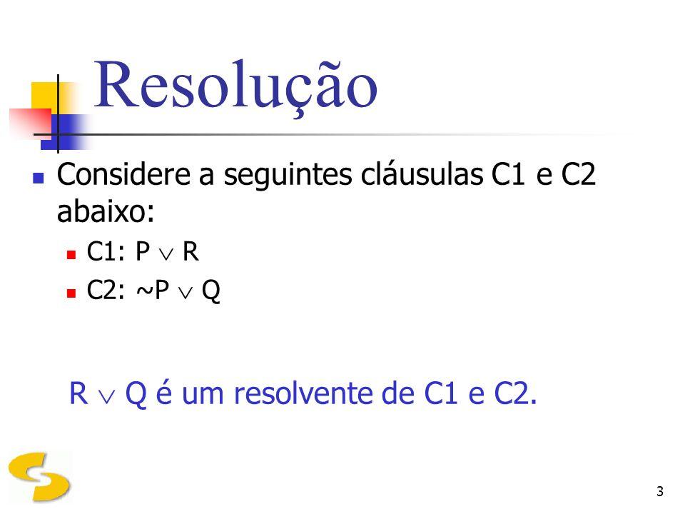 Resolução Considere a seguintes cláusulas C1 e C2 abaixo: