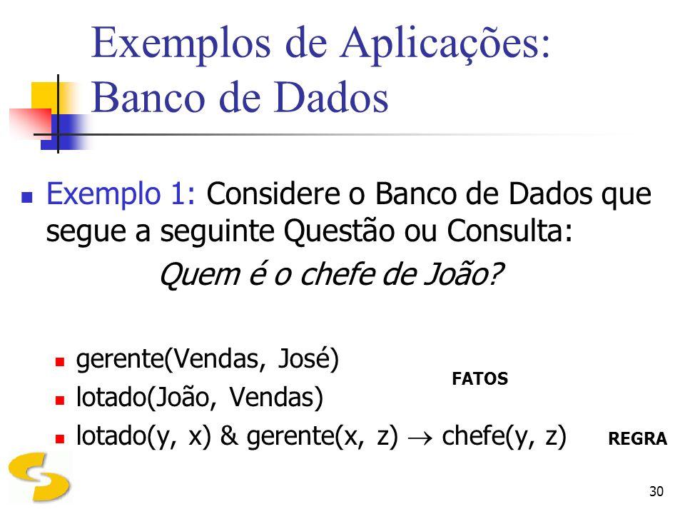 Exemplos de Aplicações: Banco de Dados