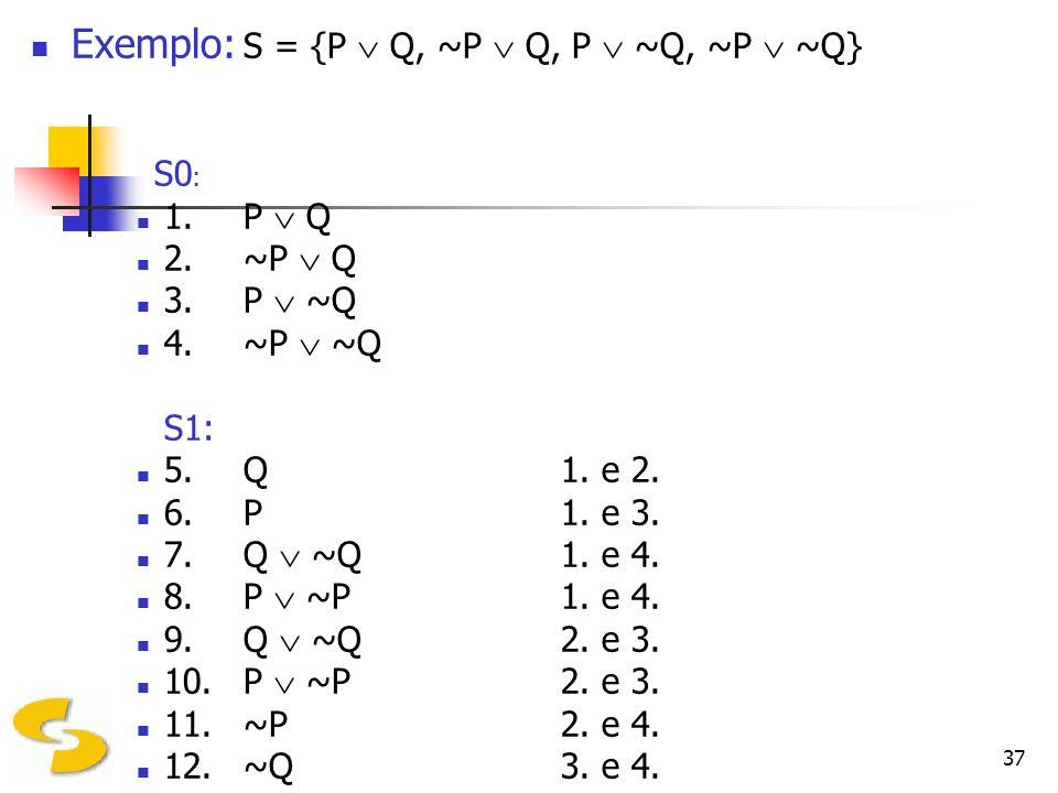 Exemplo: S = {P  Q, ~P  Q, P  ~Q, ~P  ~Q}