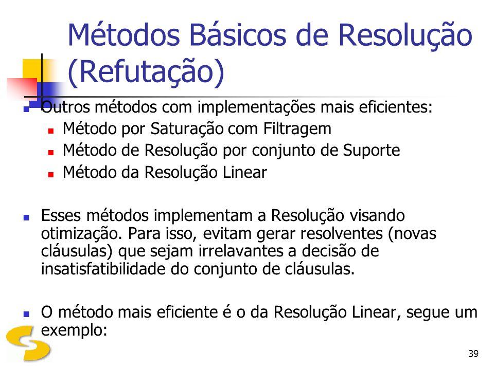 Métodos Básicos de Resolução (Refutação)
