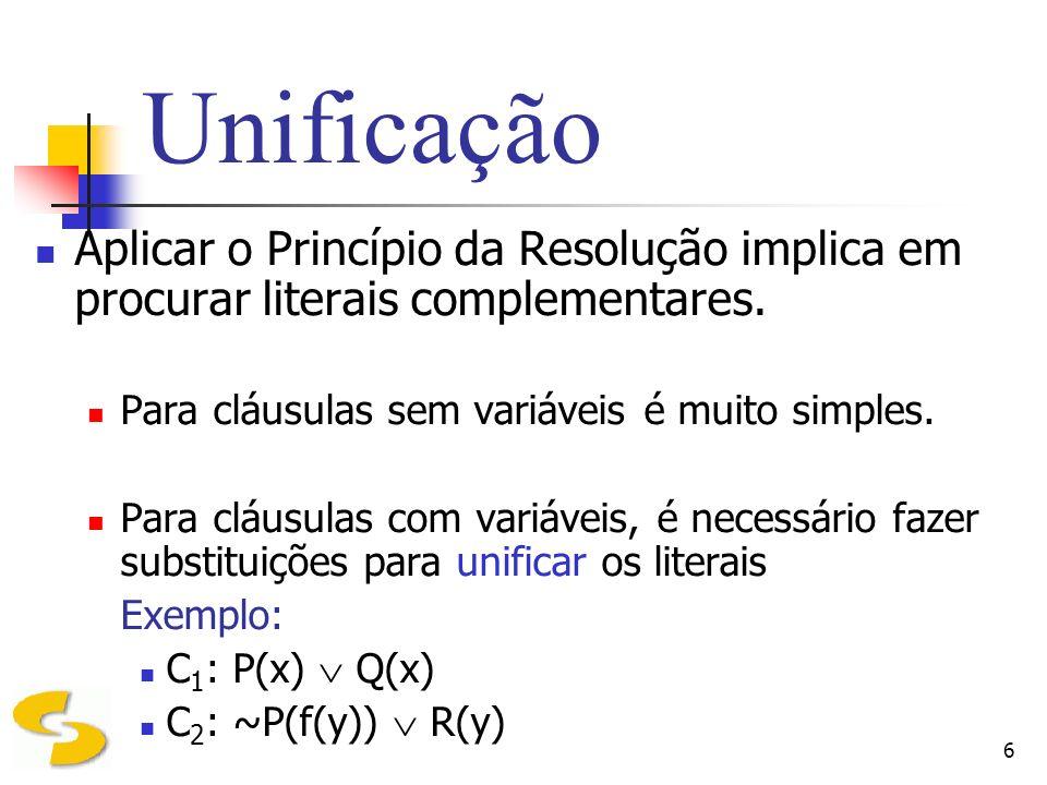 Unificação Aplicar o Princípio da Resolução implica em procurar literais complementares. Para cláusulas sem variáveis é muito simples.
