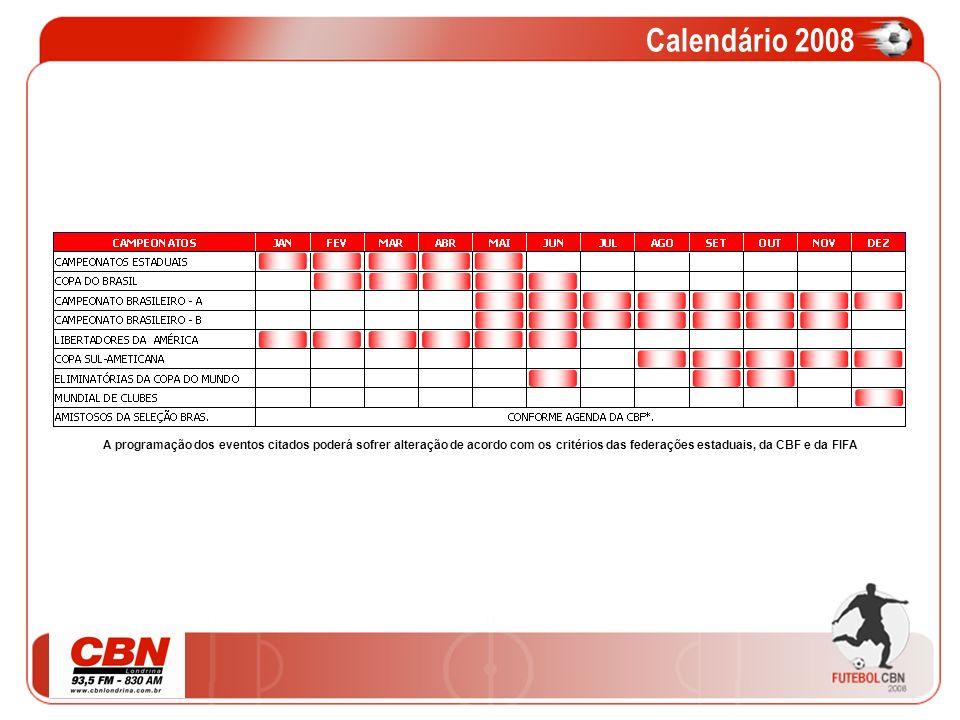 Calendário 2008A programação dos eventos citados poderá sofrer alteração de acordo com os critérios das federações estaduais, da CBF e da FIFA.