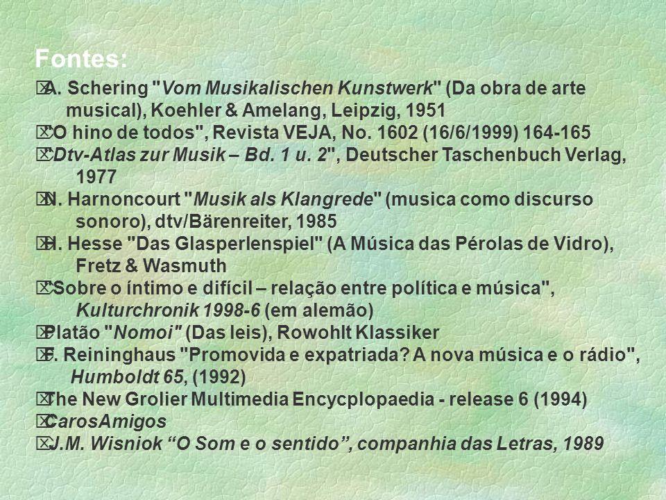 Fontes: A. Schering Vom Musikalischen Kunstwerk (Da obra de arte musical), Koehler & Amelang, Leipzig, 1951.