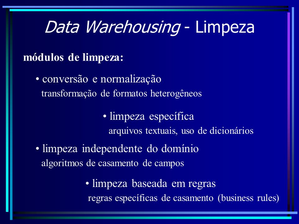 Data Warehousing - Limpeza