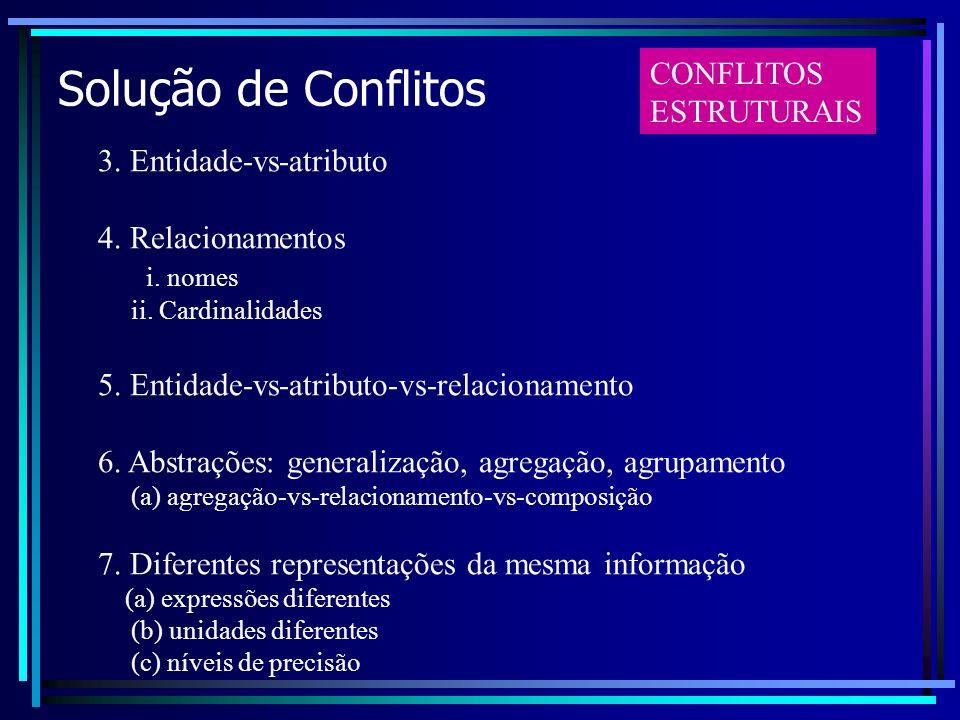 Solução de Conflitos CONFLITOS ESTRUTURAIS 3. Entidade-vs-atributo
