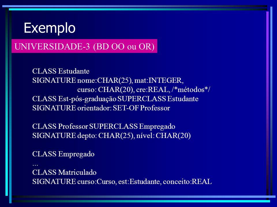 Exemplo UNIVERSIDADE-3 (BD OO ou OR) CLASS Estudante