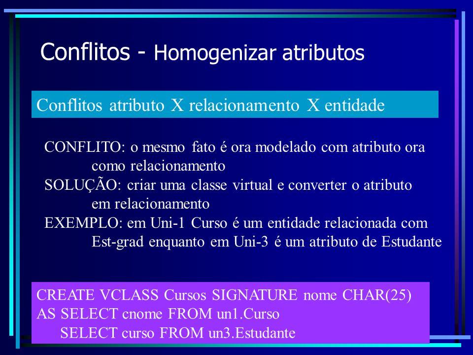 Conflitos - Homogenizar atributos