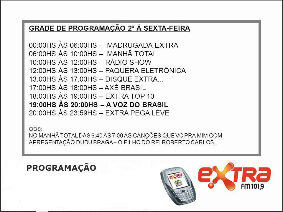 PROGRAMAÇÃO GRADE DE PROGRAMAÇÃO 2ª À SEXTA-FEIRA