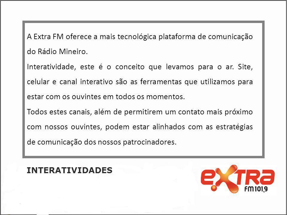 A Extra FM oferece a mais tecnológica plataforma de comunicação do Rádio Mineiro.