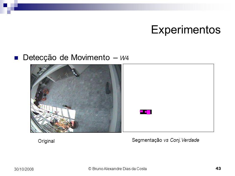 Experimentos Detecção de Movimento – W4 Segmentação vs Conj.Verdade