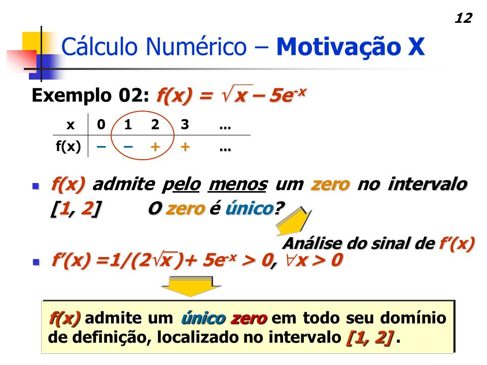 Cálculo Numérico – Motivação X