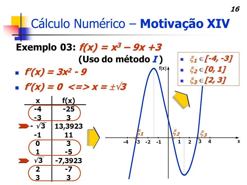 Cálculo Numérico – Motivação XIV