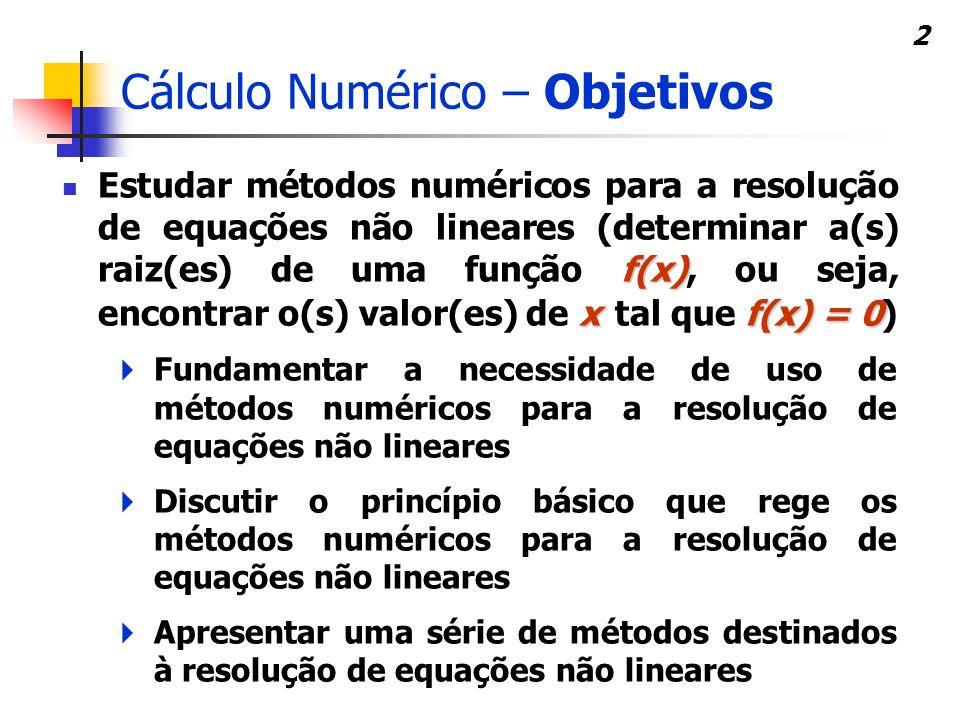Cálculo Numérico – Objetivos