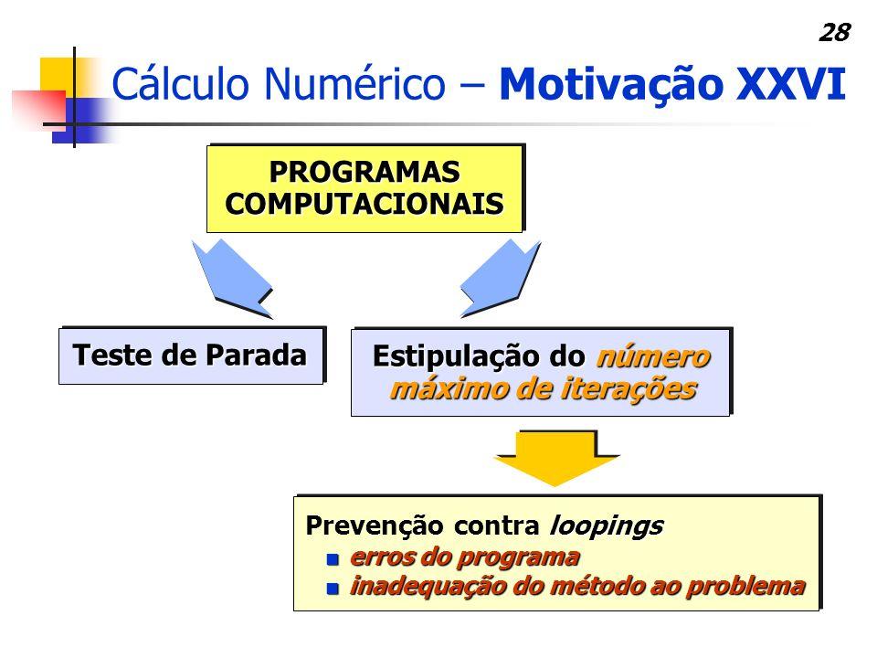PROGRAMAS COMPUTACIONAIS Estipulação do número máximo de iterações