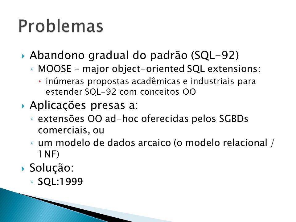 Problemas Abandono gradual do padrão (SQL-92) Aplicações presas a: