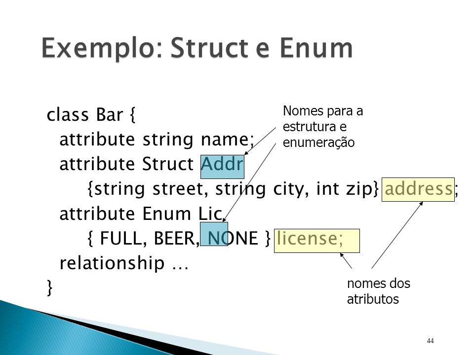 Exemplo: Struct e Enum class Bar { attribute string name;