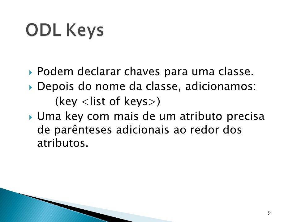 ODL Keys Podem declarar chaves para uma classe.