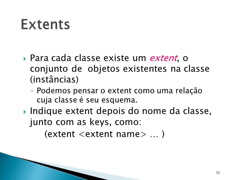 Extents Para cada classe existe um extent, o conjunto de objetos existentes na classe (instâncias)