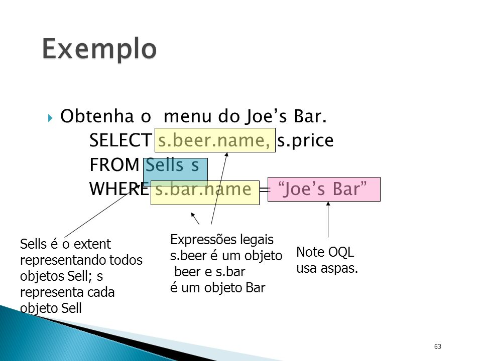 Exemplo Obtenha o menu do Joe's Bar. SELECT s.beer.name, s.price
