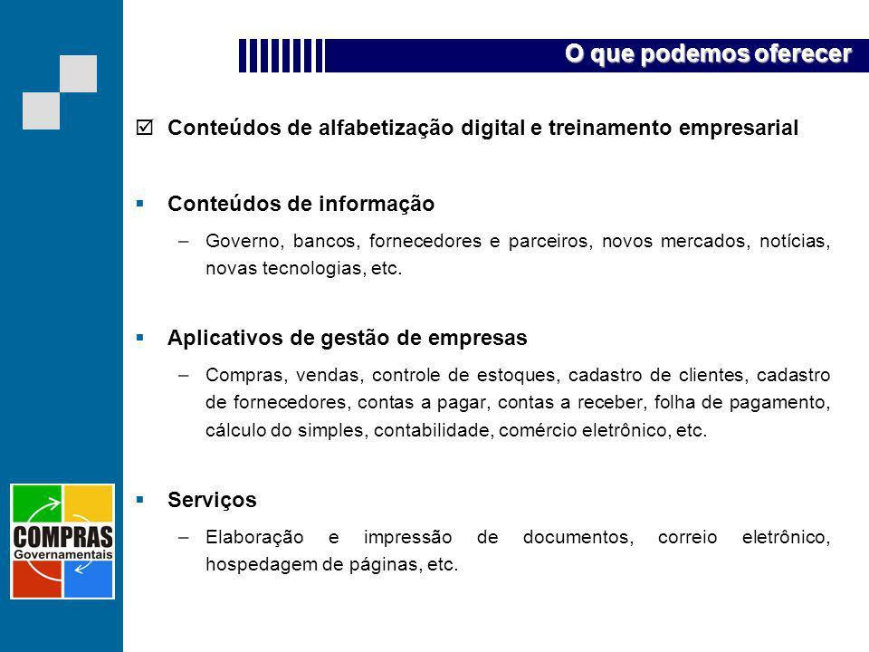 O que podemos oferecer Conteúdos de alfabetização digital e treinamento empresarial. Conteúdos de informação.