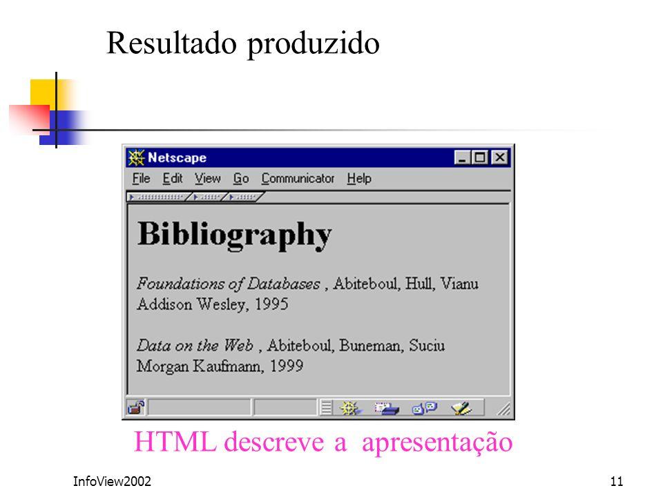 Resultado produzido HTML descreve a apresentação InfoView2002