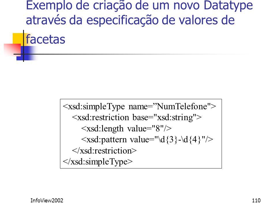 Exemplo de criação de um novo Datatype através da especificação de valores de facetas