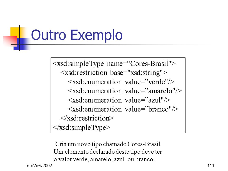 Outro Exemplo <xsd:simpleType name= Cores-Brasil >