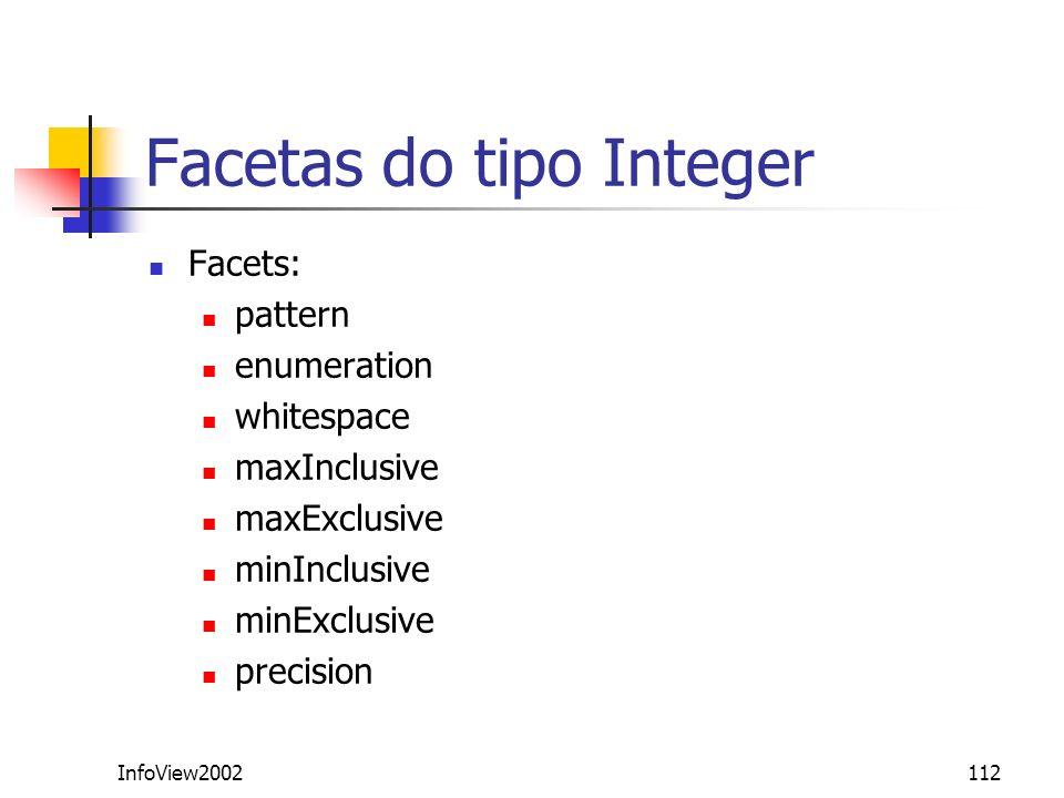 Facetas do tipo Integer