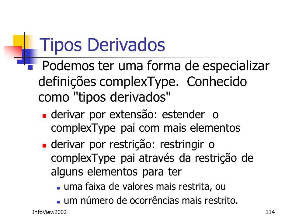 Tipos DerivadosPodemos ter uma forma de especializar definições complexType. Conhecido como tipos derivados