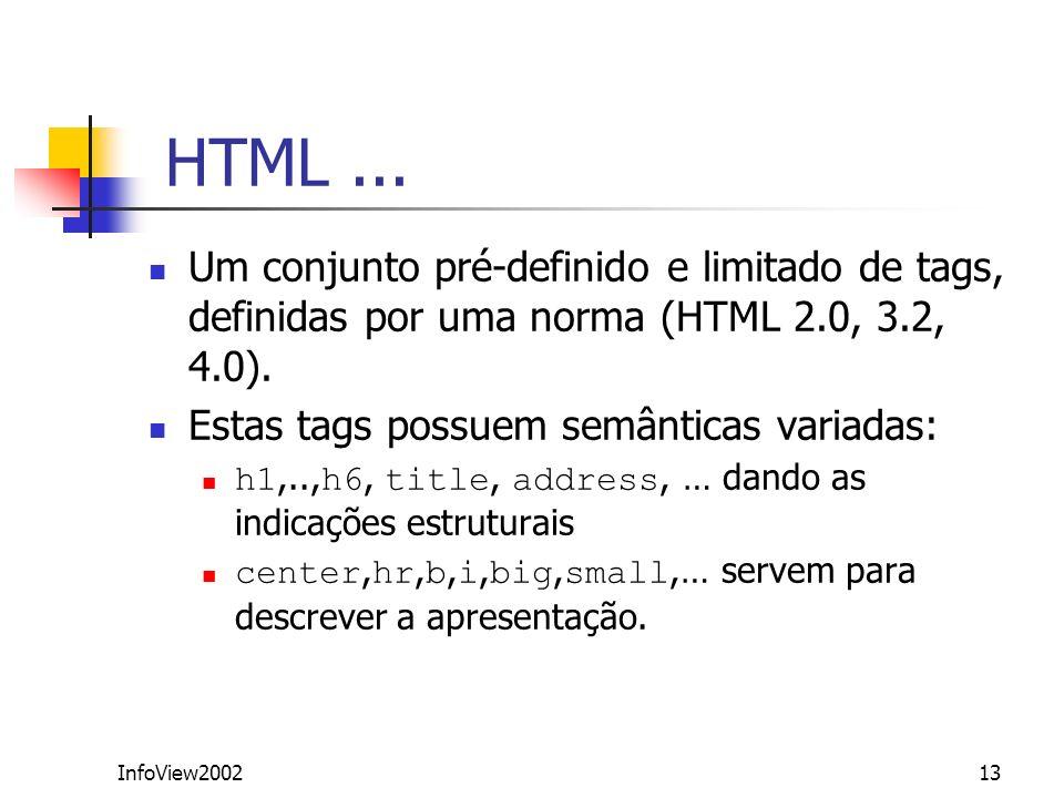 HTML ...Um conjunto pré-definido e limitado de tags, definidas por uma norma (HTML 2.0, 3.2, 4.0). Estas tags possuem semânticas variadas: