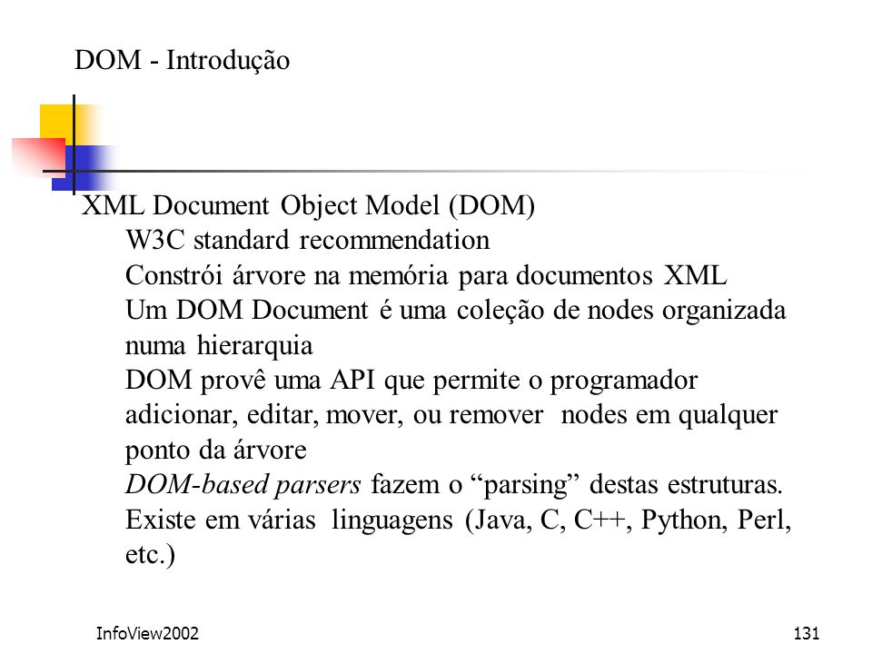 XML Document Object Model (DOM) W3C standard recommendation